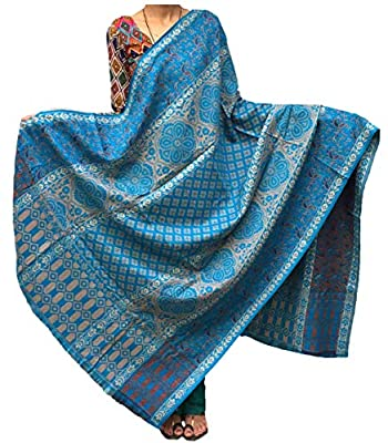 Varun Cloth House Women's Pure Woollen Shawl For Extreme High Winters (vch3809_Blue_Free Size)