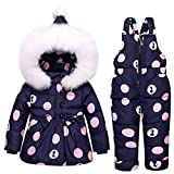 mioim Baby Mädchen Daunenjacke mit Daunenhose Winter Punkte Bekleidungsset Daunenanzug mit FellkapuzeBlau 90 cm 2 Jahre