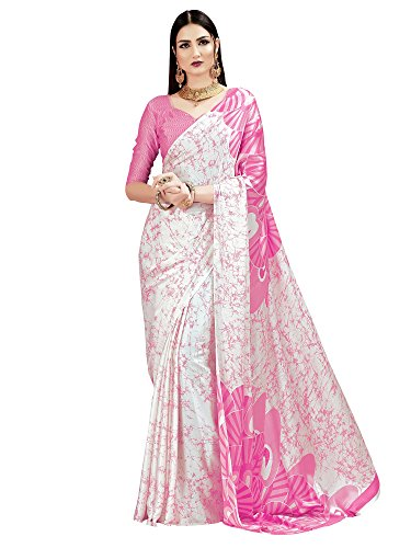 SAREE MALL Crepe Silk Saree With Blouse Piece (KQUN33016_Pink_Free Size)