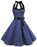DRESSTELLS Neckholder Rockabilly 1950er Polka Dots Punkte Vintage Retro Cocktailkleid Petticoat Faltenrock Navy White Dot S