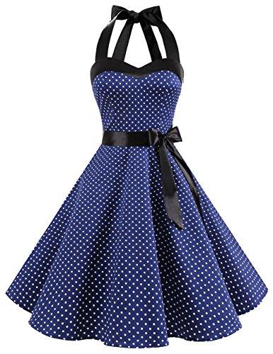 DRESSTELLS Neckholder Rockabilly 1950er Polka Dots Punkte Vintage Retro Cocktailkleid Petticoat Faltenrock Navy White Dot XL