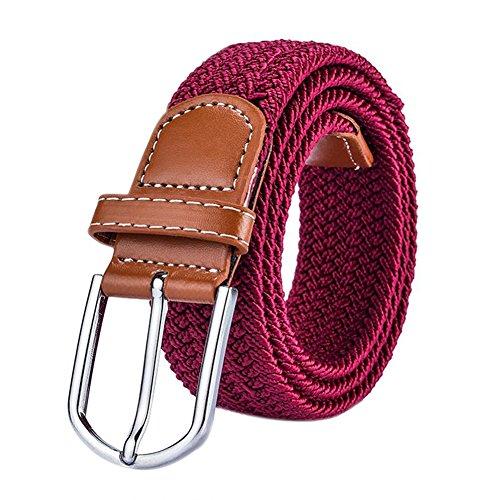 wdoit Fashion Casual trenzado Lienzo Pin hebilla de cinturón elástico cinturón de jóvenes Unisex 105* 3.5cm, lona, Rojo, 105*3.5CM