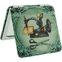 Compacto Espejo antiguo diseño de la máquina de coser 2 x aumento espejo de viaje bolsillo