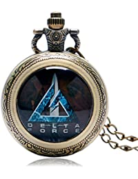 Bronze Copper Pocket Watch Clock Fashion United States Delta Force Modern Cool Rotatable Case Unisex Kids Necklace...