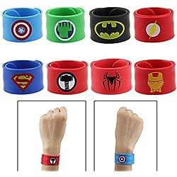 HTINAC Slap Pulsera, Superhero Slap Pulsera Regalo Ideal para Niños y Niñas Fiesta de Cumpleaños Mascarada Slap Bracelet 8 Estilos Diferentes Incluido Spiderman/Hulk/Superman, etc