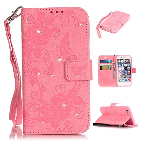 Nutbro iPhone 6S Case, iPhone 6 Wallet Case, [Stand Feature] with Built-in Credit Card Slots Case for Apple iPhone 6 / iPhone 6S 4.7 inch Pink