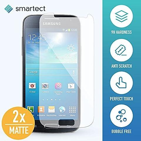 [2x MATT] Panzerglas Folie für iPhone Samsung Galaxy S4 mini • Panzerfolie mit 9H Härte • Blasenfreie Montage der Folie • Ultra-Dünn (0.3 mm) • Gerundete Kanten (2.5D) • Displayschutzfolie mit Anti-Fingerabdruck