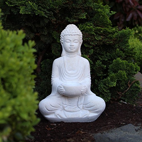 Buddha Statue Sitting With Tealight Holder Stone Garden Ornament