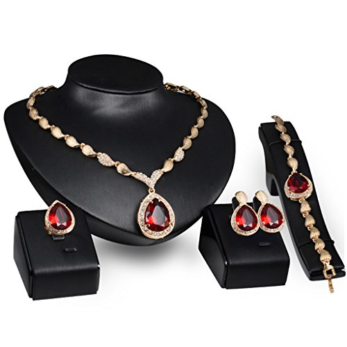 (JAGENIE Hochzeit Brautschmuck Jewelry Set rot Edelstein Anhänger Halskette Ohrring Armband Ring)