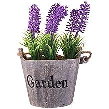 Life Up® Florero de madera + artificial flores de lavanda, Barril de la vendimia Diseño Florero planta plantador, Decoración Iniciar / interior / exterior / de la boda / Jardín