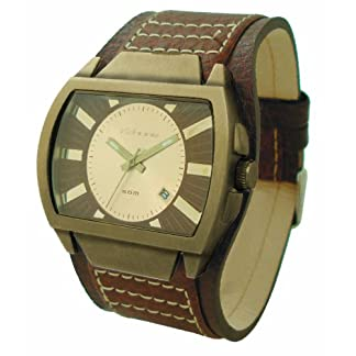 Kahuna KUC-0004G – Reloj analógico de caballero con correa de piel marrón – sumergible a 50 metros