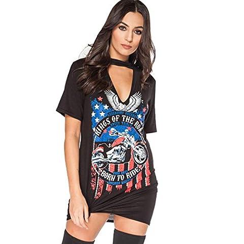 Ularma Femmes Vintage Style Rock Long T-Shirt Mini robe Casual Parti Vacances T Shirt (L, noir)