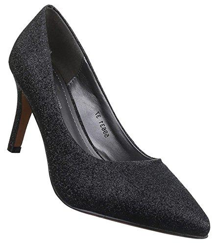 Damen Pumps Schuhe High Heels Stiletto Abendschuhe Schwarz 36 37 38 39 40 41 Schwarz