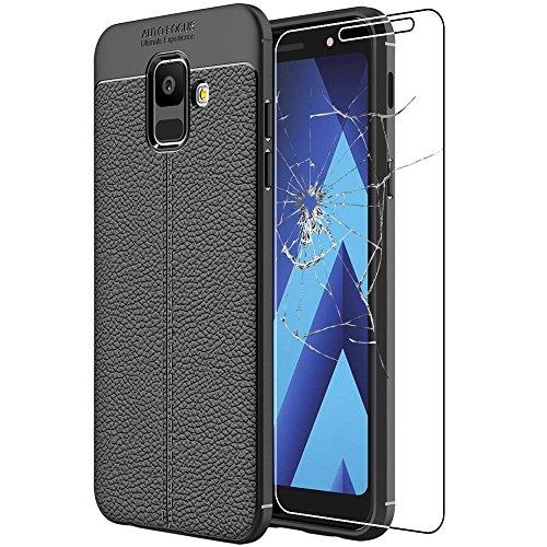 ebestStar - compatibel Samsung Galaxy A6 2018 Hülle SM-A600F Lederhülle Design TPU Handyhülle Schutzhülle, Flex Silikon Case, Schwarz + Panzerglas Schutzfolie [Phone: 149.9 x 70.8 x 7.7mm, 5.6'']