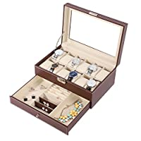 BASTUO 12 Watch Box Watch Display Organizer with PU Leather Jewelry Display Case with Key&Lock, Brown