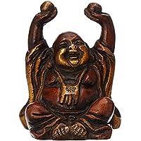 purpledip Vintage Laughing Buddha Statua in ottone metallo: Araldo della saggezza e ricchezza–Uso come home decor applique per Feng-Shui, finitura oro (10325)