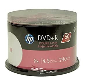 Hp Dvd+R Dl Double Layer 8X 8.5Gb White Inkjet Printable 50 Pack In Spindle