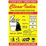 Clean India - Garbage Bags - 19X21   3 Packs of 30 Pcs - 90 Pcs   Black Medium Disposable Dustbin Bags