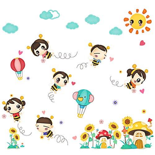 (Cartoon Kinderzimmer Baby-Schlafzimmer Dekorationen Bienen Wandaufkleber Niedlichen Kindergarten-Klassenzimmer Selbstklebenden Stock Stickerwandaufkleber Für Schlafzimmer Aufkleber Wandsticker)