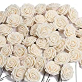 U'Artlines Künstliche Blumen, echt aussehend, künstliche Rosen, mit Stiel für DIY Hochzeitssträuße, Tischdekoration für Partys, Babypartys, Zuhause, Büro, Geschäft, Hotel, Supermarkt, Dekorationen (Champagner), 50 Stück