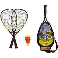 Talbot Torro Herren Speed 4400, 2 handliche Alu-Rackets 54, 5cm, 3 windstabile Federbälle,3/4 Bag, gelb-schwarz, 490114 Speedbadminton Set, Mehrfarbig, one Size