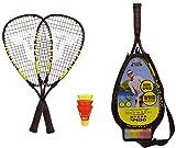 Talbot Torro Speed-Badminton Set Speed 4400, 2 handliche Alu-Rackets 54,5cm, 3 windstabile Federbälle, im 3/4 Bag, gelb-schwarz, 490114