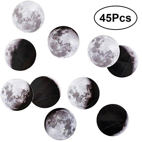 Ounona etichette adesive a forma di luna per scrapbooking multiuso 45pcs