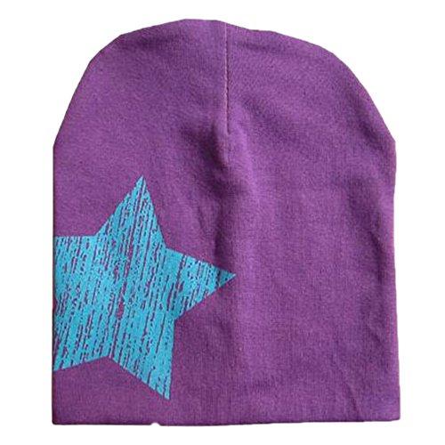 San Bodhi® Bébé Enfant Coque souple en tricot chapeau Bonnet chaud Imprimé étoiles Violet