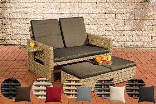 Awesome Clp Flexible Poly Rattan Outdoor Sofa Ancona 2 Seater 5 Mm Thick Rattan Extandable Footrest Aluminium Frame Incl Cushions Rattan Colour Natura Creativecarmelina Interior Chair Design Creativecarmelinacom