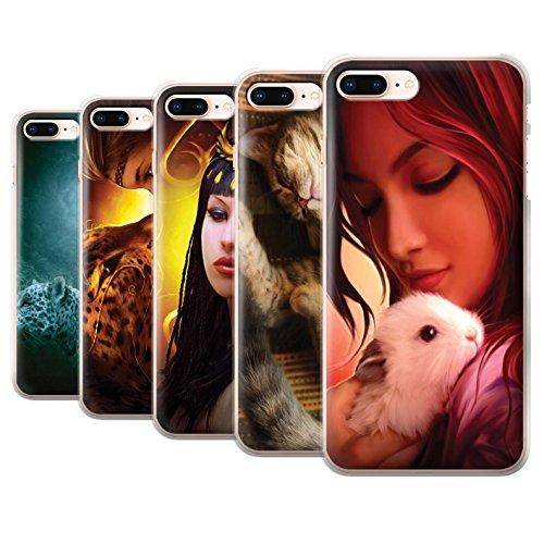 Officiel Elena Dudina Coque / Etui pour Apple iPhone 8 Plus / Loups Blancs Design / Les Animaux Collection Pack 16pcs