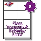 8 Per Page/Sheet 10 Sheets (80 TRANSPARENT Sticky Labels) Label Planet® CLEAR POLYESTER Self-Adhesive Blank A4 Gloss WATERPROOF Printable Address Product Shipping Mail Stickers, For Laser Printer, 99.1 x 67.7 MM UK LP8/99 GTP, Multi-Use/Purpose