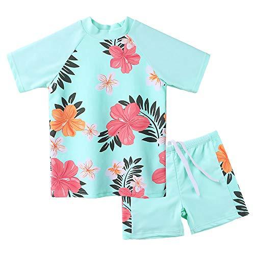 ZNYUNE Mädchen Baby Kinder Badeanzug UV Schutz 50+ 2 TLG Sonnenschutz Schwimmanzug Badebekleidung Tankini 3-12 Jahre (CyanBlume, 14A (11-12 Jahre)) -