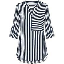 Mujer blusa camiseta tops manga larga casual moda2018,Sonnena Blusa de gasa de las mujeres