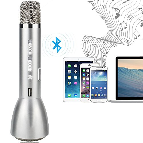 SinoPro K088 Portable Karaoke Player, Wireless Kondensator Mikrofon, Bluetooth Lautsprecher, Idee für Karaoke, Mini KTV Konzert, Singen Praxis, Meeting, Kompatibel mit iPhone, Android Smartphone, PC und anderen Audio Player (Silber)
