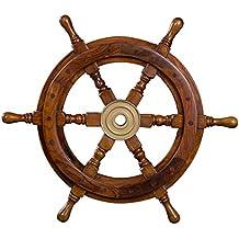 Timone decorativo in legno con mozzo in ottone. Da S a XL. Stile nautico, barca, nave, marittimo., Legno, marrone, Größe S - 30 cm