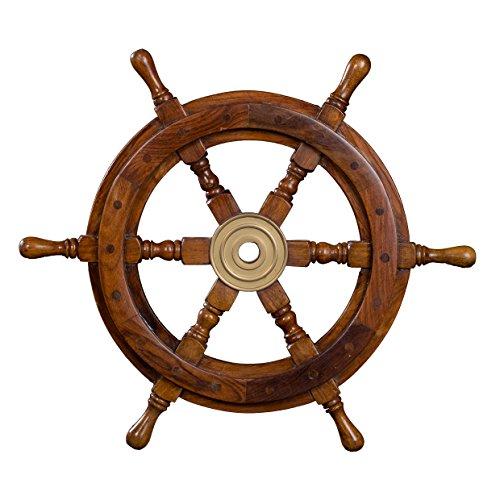Dekoratives Steuerrad aus Holz mit Messingnabe. Von S bis L . Nautik Optik, Boot, Schiff, Maritim (Größe L - 46 cm)