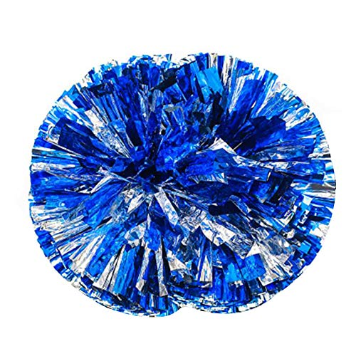 Kostüm Pom Cheerleader Poms - Xiton Cheerleader Cheerleading Pom Poms Party Kostüm Accessory Set Ball Dance Fancy Dress Night Party Sports Pompoms Cheer 1 Pair (Blue Mixed Silver)