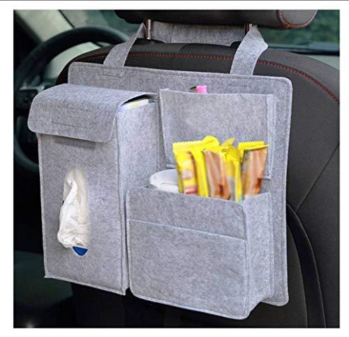 CZH Autositz Organizer Multi-Pocket Travel Aufbewahrungstasche Für Kinder Mit Tissue Box Getränkehalter Schwarz,F,32 * 28 * 8.5 c