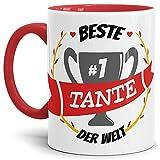 Kaffee-Tasse Tante Innen & Henkel Rot/Lustig / Fun/Mug / Cup/Geschenk Qualität - 25 Jahre Erfahrung
