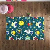 Çocuk Odası Oyun Halısı, Kaymaz Tabanlı Halı ve Kilimler, Uzay ve Astronot Desenli Kız Erkek Çocuk Odası Halısı, Bebek Odası Halısı (150x230)