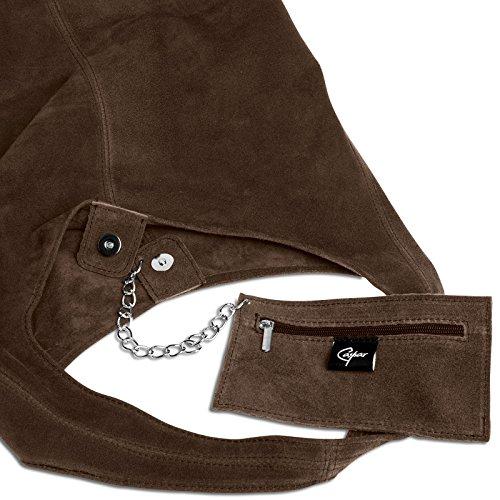 CASPAR TL767 Donna Borsa a Spalla Vintage Hobo Bag in Pelle Scamosciata Marrone scuro
