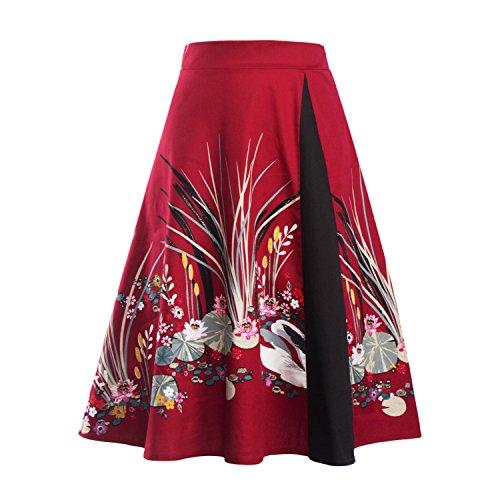 Omela Rockn Roll Rock Kostüm Damen 50er Jahre Rock Rockabilly Tellerrock Hohe Taille Faltenrock Blumenrock Farbe14