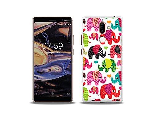 etuo Nokia 7 Plus - Hülle Fantastic Case - Bunte Elefanten - Handyhülle Schutzhülle Etui Case Cover Tasche für Handy