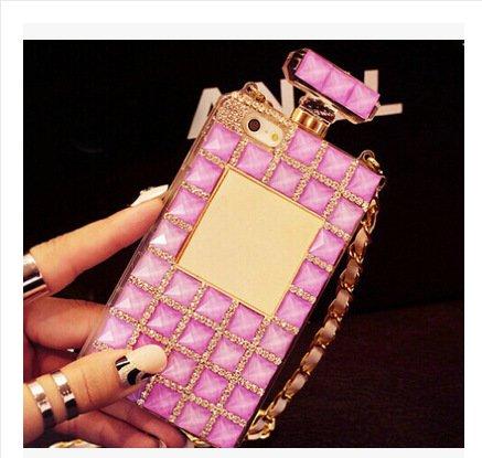 Coque iPhone 6/6s , iNenk® parfum bouteille téléphone Shell TPU Mous Diamond Drill Etui avec chaîne Halter Glitter solide marée manchon-Blanc 3rose