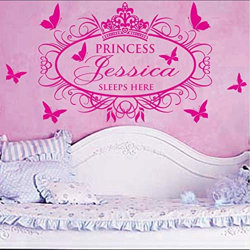 Wandaufkleber Schlafende Prinzessin Mädchen Vinyl Wandaufkleber Wohnkultur mit dem personalisierten Namen Ihres Kindes - 56 * 33cm