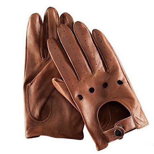 Fahrer Handschuhe Ryan Coole Herren Schwarz Braun Leder Gloves Driving Cosplay Kostüm (Kostüm Ryan)