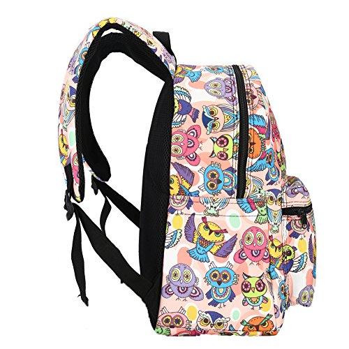 KISSAVI Damen Canvas Schulrucksack Mädchen Schulrucksack Daypacks Cartoon Eule