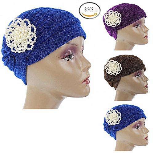 Ever Fairy Chemo Cancer Head Scarf Hat Cap Ethnic Cloth Pearl Turban Headwear Women's Beanie Scarf