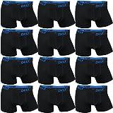 12er Pack Daily Underwear Herren Boxershorts - S - 6XL Übergrößen (Shorts Fallen ca. eine Größe Kleiner aus), Größe:3XL, Farbe:Schwarz/Blau