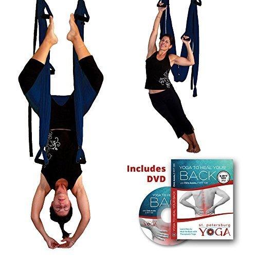 Inversion Sling - Yoga Swing (Dark Blue) + Yoga...